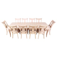 Bernhardt Mediterranean Style Carved Maple Dining Set with Ten Chairs