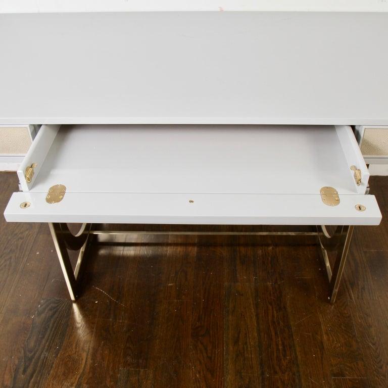 Bernhardt Salon Desk in Grey Lacquer For Sale 4