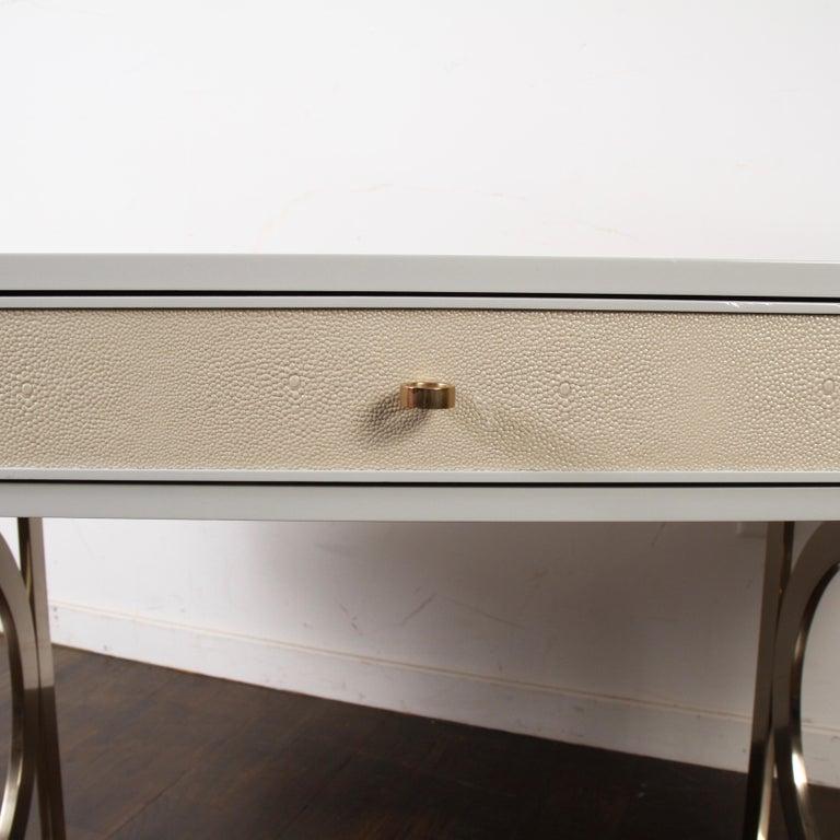 American Bernhardt Salon Desk in Grey Lacquer For Sale