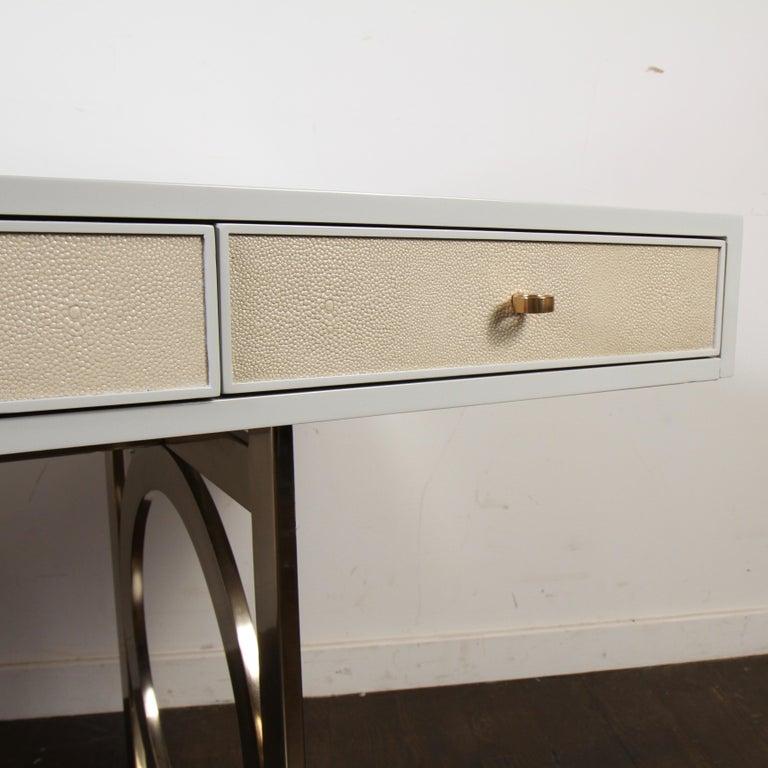 Lacquered Bernhardt Salon Desk in Grey Lacquer For Sale