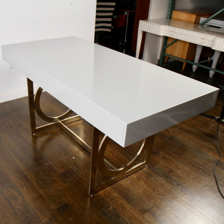 Metal Bernhardt Salon Desk in Grey Lacquer For Sale