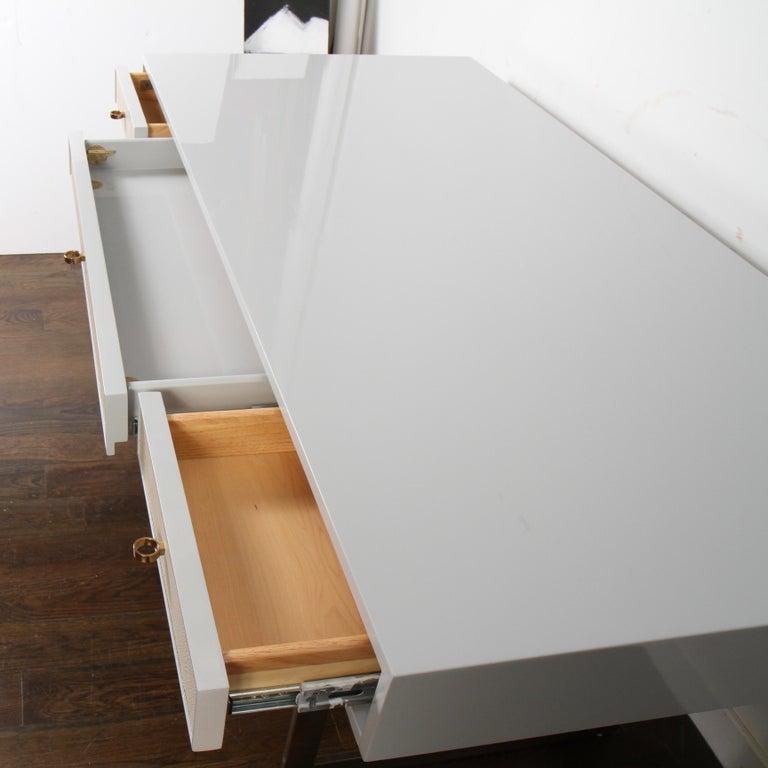 Bernhardt Salon Desk in Grey Lacquer For Sale 2