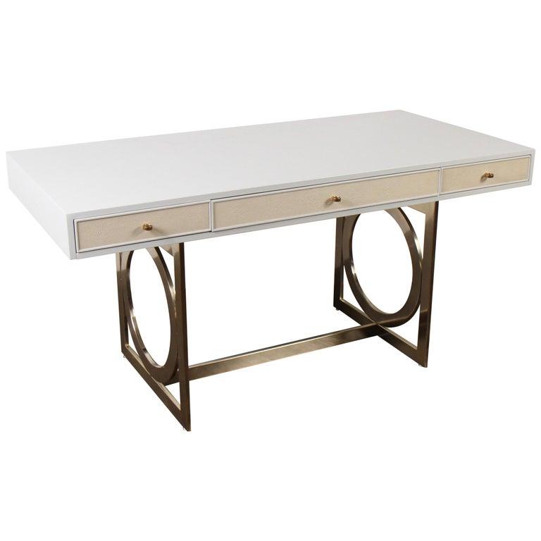 Bernhardt Salon Desk in Grey Lacquer For Sale