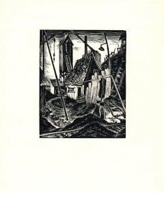1939 Bernice E. Jamieson 'Deserted' Modernism Black & White Woodblock