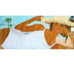 Girl at the Beach with wide Brim Hat