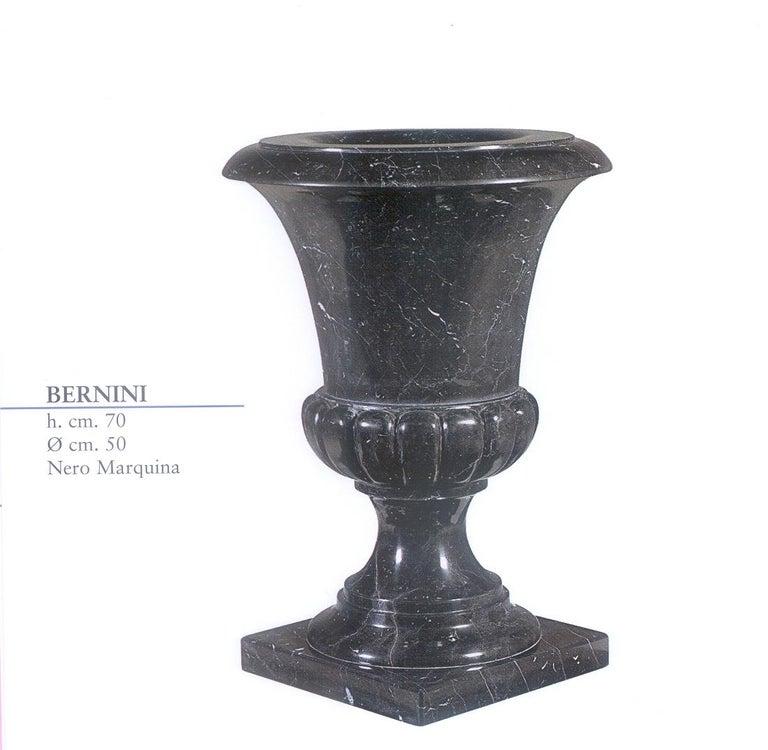 Multi-purpose Bernini vase in Nero Marquina marble. Perfect for garden or home decor.
