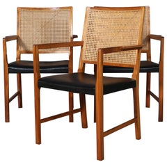 Bernt Pedersen Set of Armchairs, Mahogany and Cane
