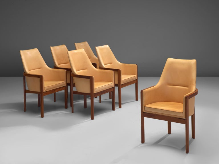 Bernt Peterson for Søborg Møbelfabrik, set of six dining chairs, leather, mahogany, Denmark, 1960s  Elegant and comfortable set of six dining chairs designed by Bernt Peterson in the 1960s. The chairs are executed with a mahogany frame and leather
