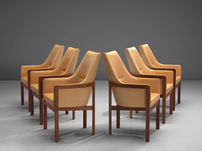 Danish Bernt Peterson for Søborg Møbelfabrik Set of Six Dining Chairs in Leather For Sale