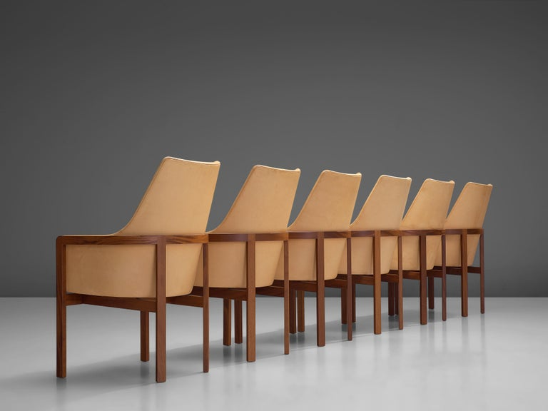 Mid-20th Century Bernt Peterson for Søborg Møbelfabrik Set of Six Dining Chairs in Leather For Sale