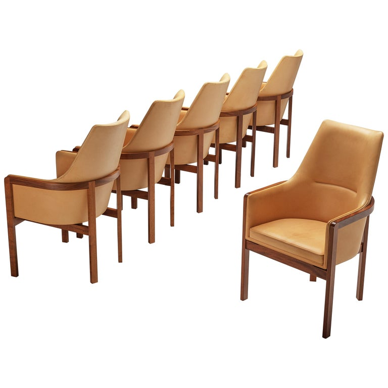 Bernt Peterson for Søborg Møbelfabrik Set of Six Dining Chairs in Leather For Sale