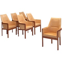 Bernt Peterson Set of Six Leather Armchairs, 1960s