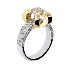 Berquin Certified 1.02 Carat Yellow Diamond Brilliant Cut Gold Engagement Ring