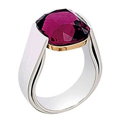 18 Karat White Gold Certified 11.5 Carat Cherry Rubelite Cushion Cocktail Ring