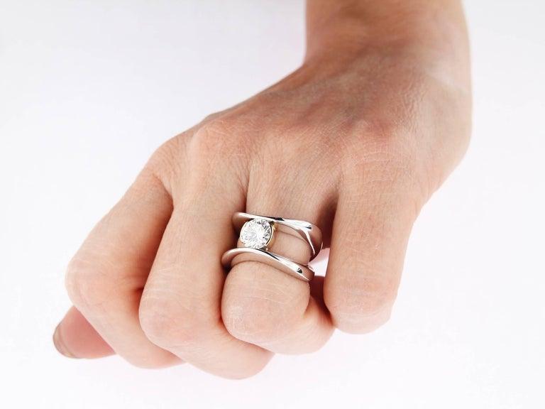 Round Cut 18 Karat Gold Berquin Certified 1.54 carat Diamond Brilliant Cut Solitaire Ring For Sale