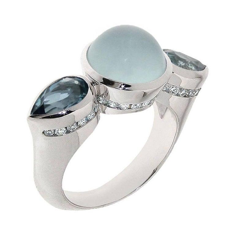 Berquin Certified 3,77 carat Cat's eye Aquamarine 18 Karat White Gold Ring