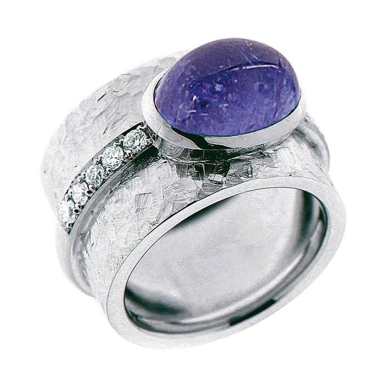 Berquin Certified 6.05 Carat Blue Tanzanite Oval Cabochon Gold Ring