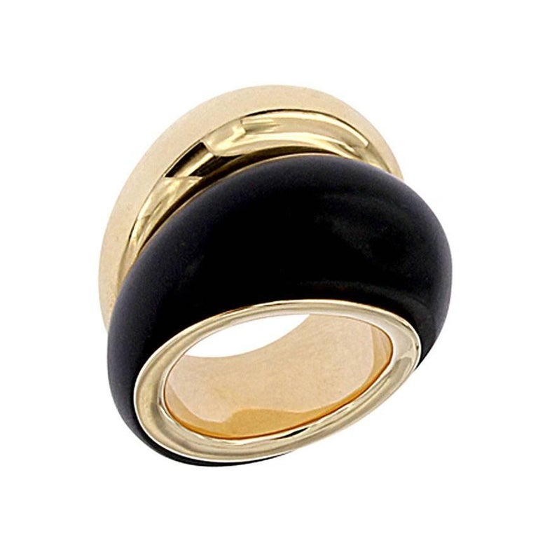 Berquin Certified Black Jade and Gold Double Dome Ring