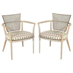 Bert England Caned Back Lime Washed Wood Lounge Chairs