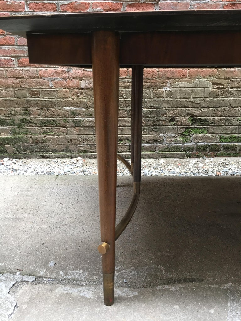 Bert England for Johnson Furniture Walnut and Brass Dining Table For Sale 3