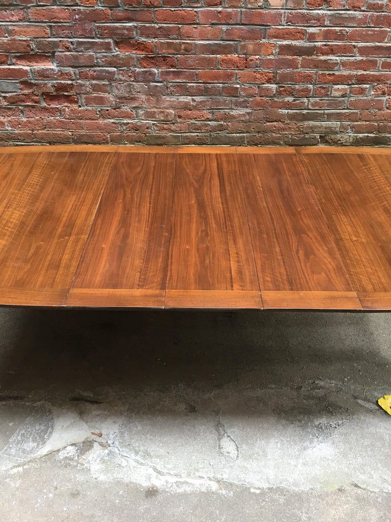 Bert England for Johnson Furniture Walnut and Brass Dining Table For Sale 8