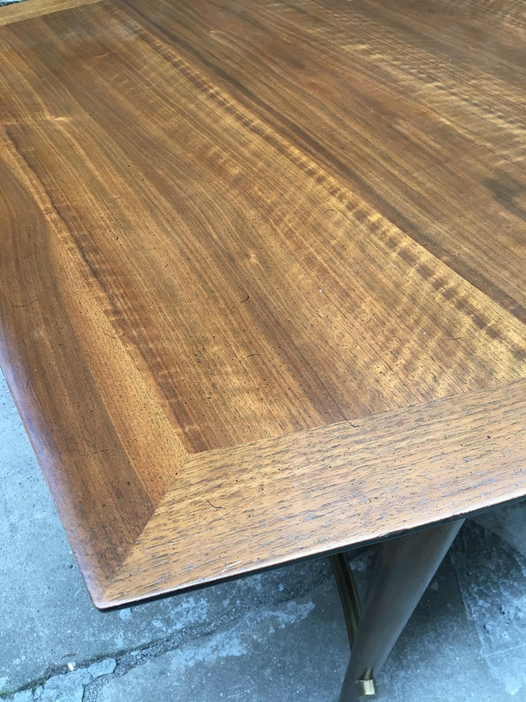 Bert England for Johnson Furniture Walnut and Brass Dining Table For Sale 10