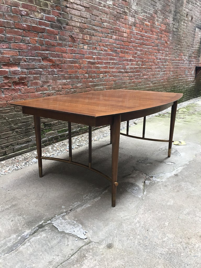 Mid-Century Modern Bert England for Johnson Furniture Walnut and Brass Dining Table For Sale
