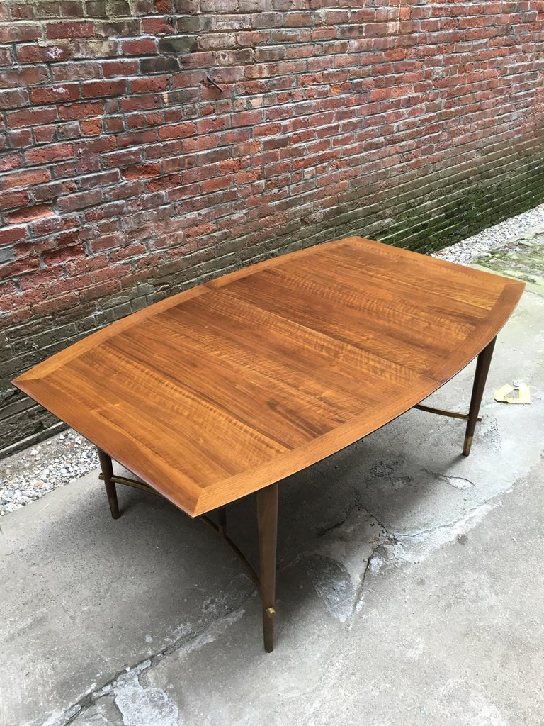 American Bert England for Johnson Furniture Walnut and Brass Dining Table For Sale