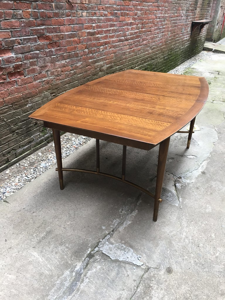 Veneer Bert England for Johnson Furniture Walnut and Brass Dining Table For Sale