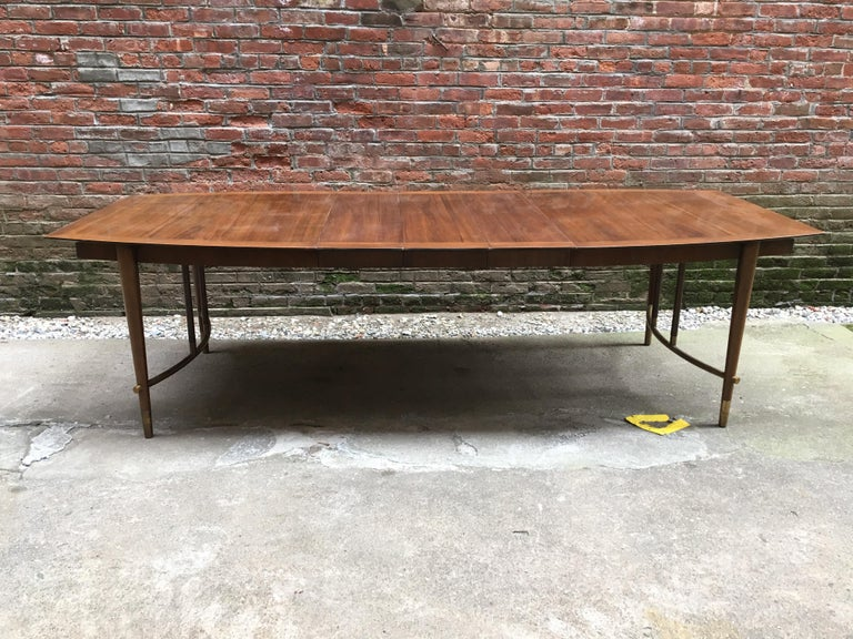 Mid-20th Century Bert England for Johnson Furniture Walnut and Brass Dining Table For Sale
