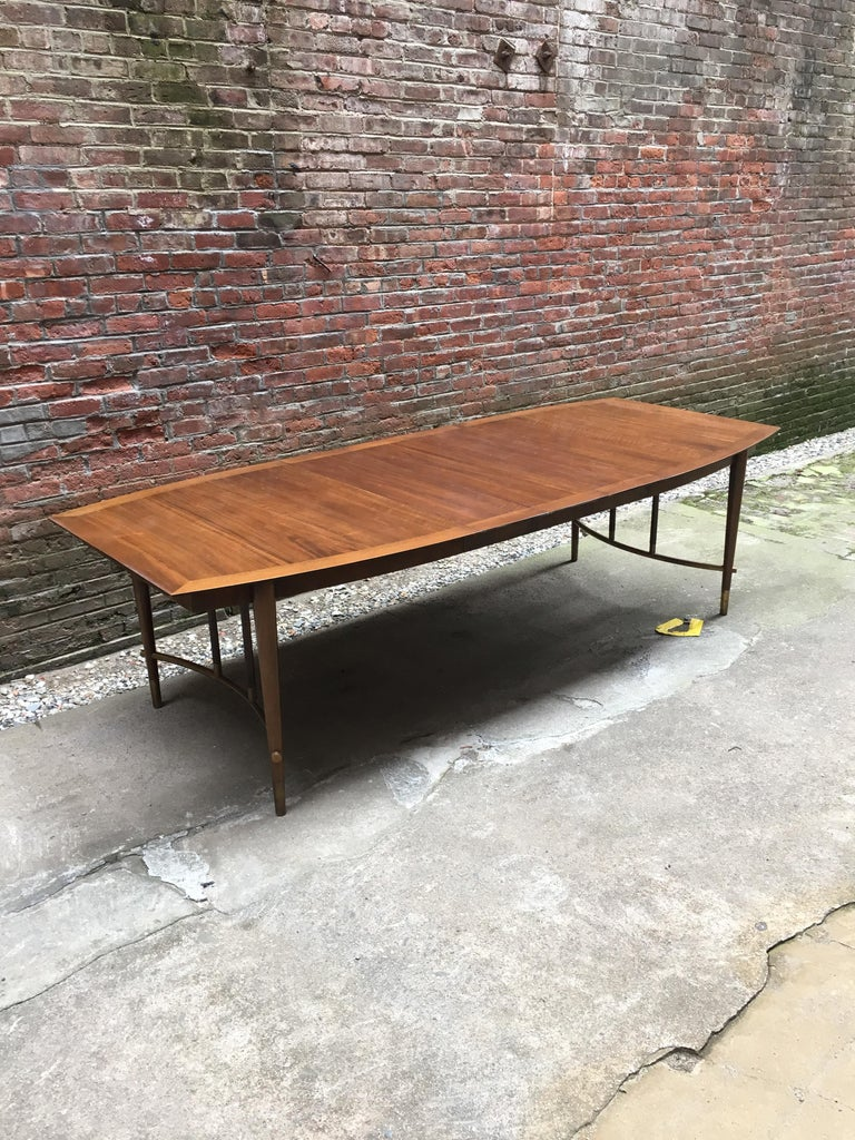 Bert England for Johnson Furniture Walnut and Brass Dining Table For Sale 2