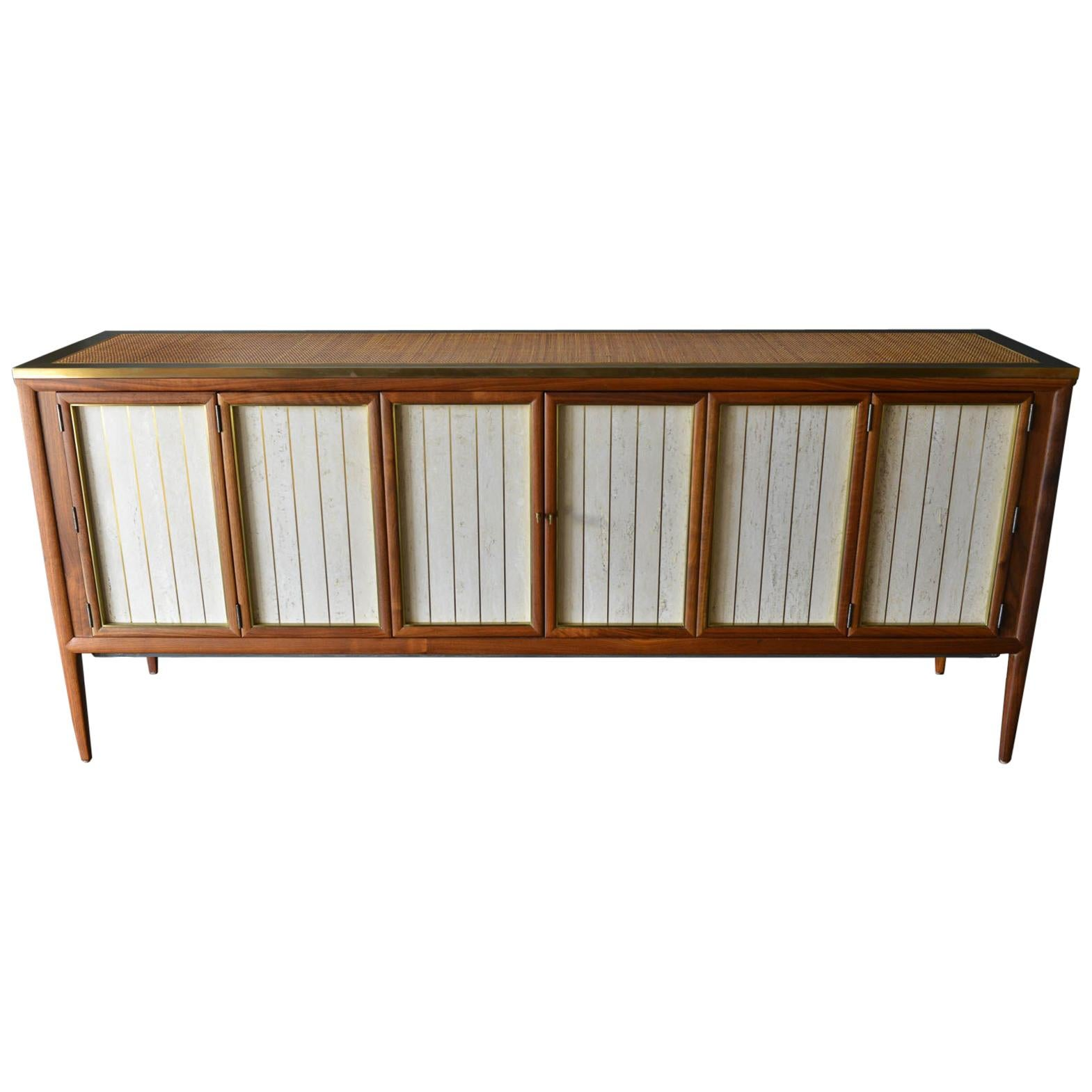 Bert England Walnut, Cane, Brass and Travertine Credenza, circa 1955