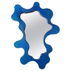 Bert Furnari Abstract Free-Form Aluminum Mirror, Bespoke Blue Finish