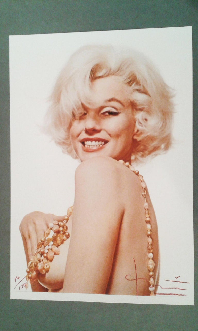 Marilyn Boob Smile, Contemporary Color Portrait Photography of Marilyn Monroe - Beige Nude Photograph by Bert Stern