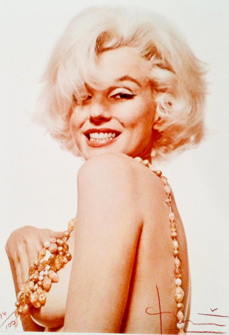 """From the series The Last Sitting, """"Marilyn Boob Smile,"""" 1962 by Bert Stern is in an edition of 100. 19 x 13 inches - the print is signed on image front (recto) and numbered 16/100 by photographer.  Print is also signed, stamped, and dated on image"""