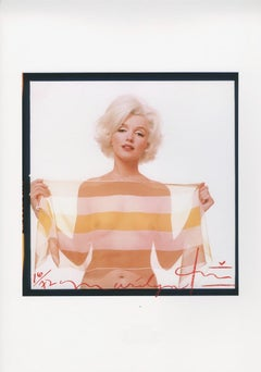 Marilyn Monroe in striped scarf by Bert Stern