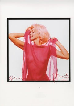 Marilyn Monroe . Marilyn Monroe fuscia scarf profile . The last sitting