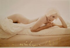 Marilyn Monroe Nude on the Bed, Contemporary Color Photography of Hollywood Star
