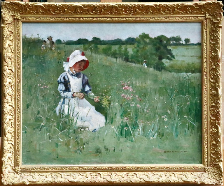 Picking Wildflowers - 19th Century Oil, Figures in Landscape by Bertha Newcombe For Sale 1