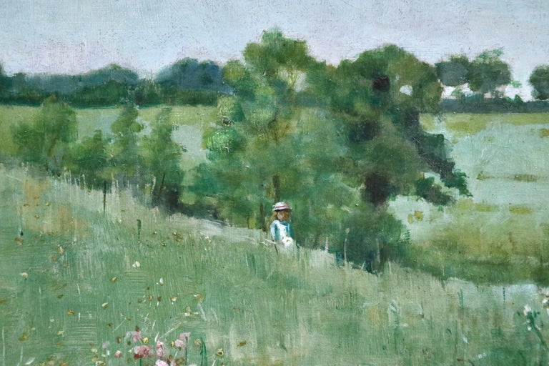 Picking Wildflowers - 19th Century Oil, Figures in Landscape by Bertha Newcombe For Sale 2