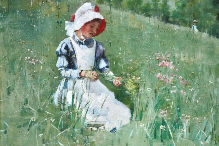 Picking Wildflowers - 19th Century Oil, Figures in Landscape by Bertha Newcombe For Sale 4
