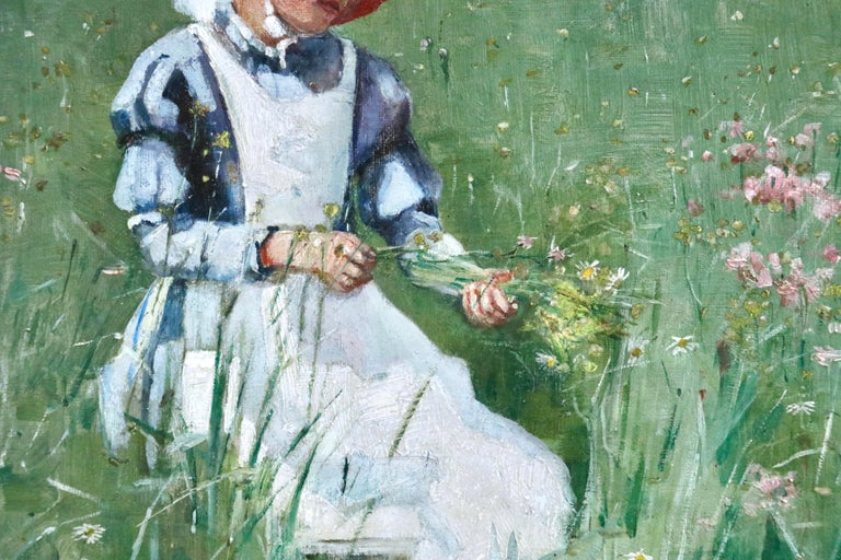 Picking Wildflowers - 19th Century Oil, Figures in Landscape by Bertha Newcombe For Sale 5