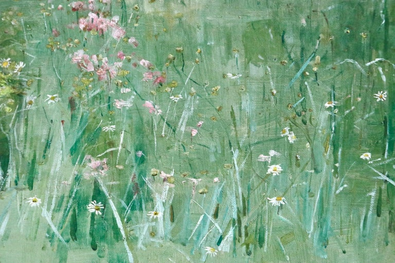 Picking Wildflowers - 19th Century Oil, Figures in Landscape by Bertha Newcombe For Sale 6