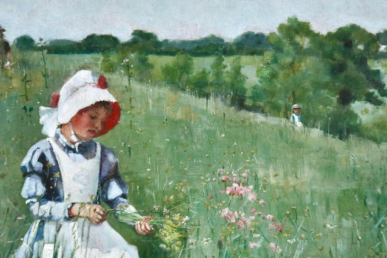 Picking Wildflowers - 19th Century Oil, Figures in Landscape by Bertha Newcombe For Sale 8
