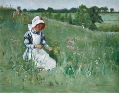 Picking Wildflowers - 19th Century Oil, Figures in Landscape by Bertha Newcombe