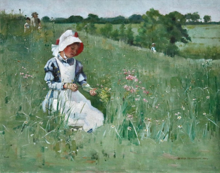 A stunning turn of the century oil on canvas by Bertha Newcombe depicting a young girl picking wildflowers in the beauty of her surroundings. Signed and dated 1884 lower right. Framed dimensions are 20 inches high by 24 inches wide.  Born in 1857