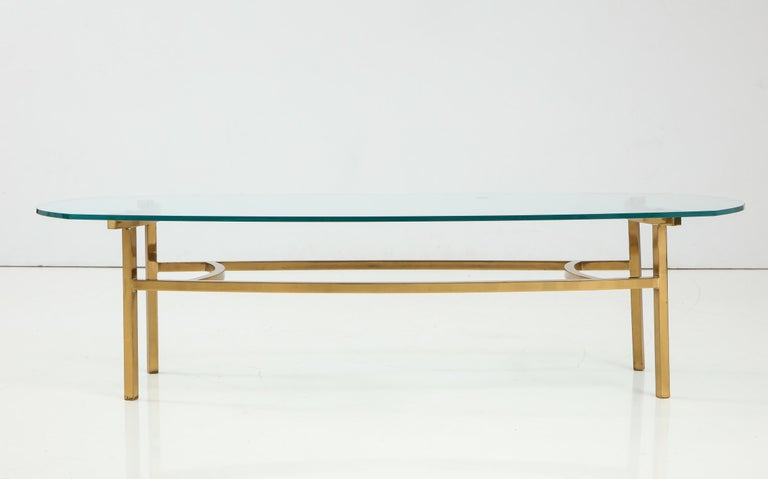 Mid-Century Modern Bertha Schaefer Brass and Glass Cocktail Table for M. Singer and Sons For Sale