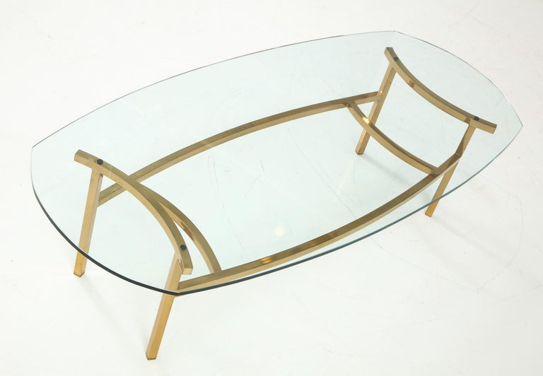 American Bertha Schaefer Brass and Glass Cocktail Table for M. Singer and Sons For Sale
