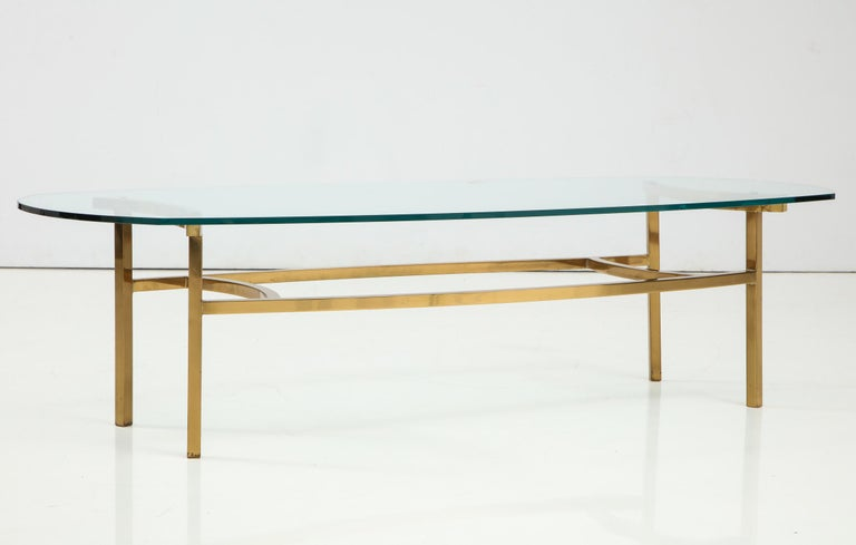 Bertha Schaefer Brass and Glass Cocktail Table for M. Singer and Sons In Good Condition For Sale In New York, NY