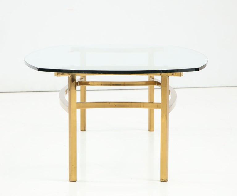 Mid-20th Century Bertha Schaefer Brass and Glass Cocktail Table for M. Singer and Sons For Sale